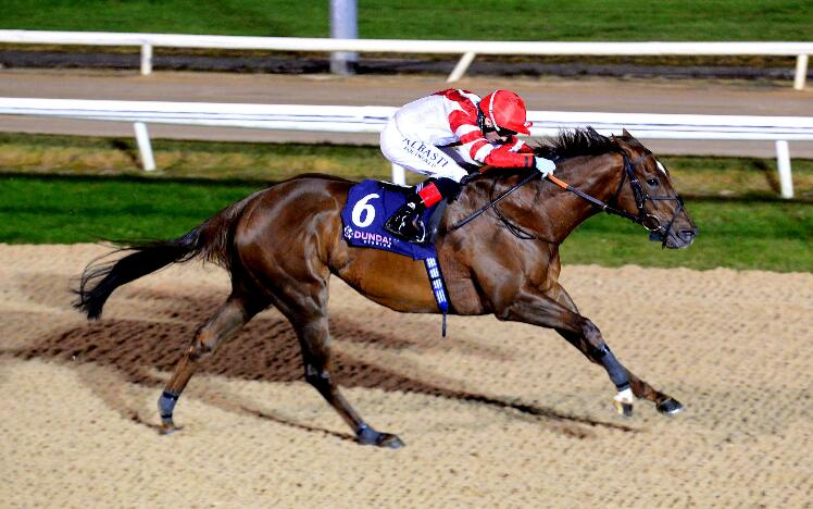 British challenger Ummalnar wins the Irish EBF Cooley Stakes at Dundalk