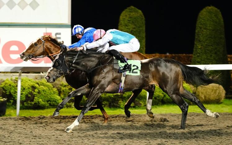 Set Piece (near side) winning the 2019 Hyde Stakes at Kempton Park